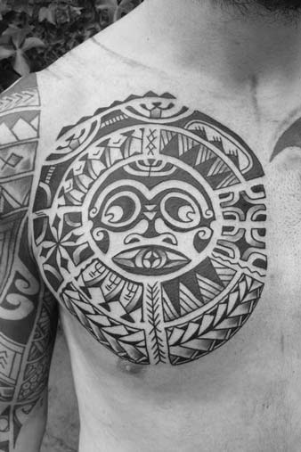 tattoo, Polynesian, chest