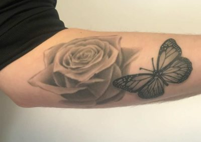 Andrez, tattoo, arm, butterfly, rose