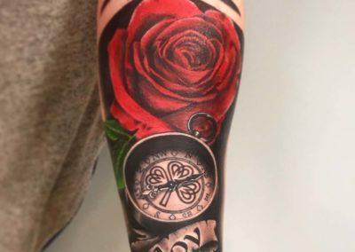 Andrez, tattoo, arm, rose, clock