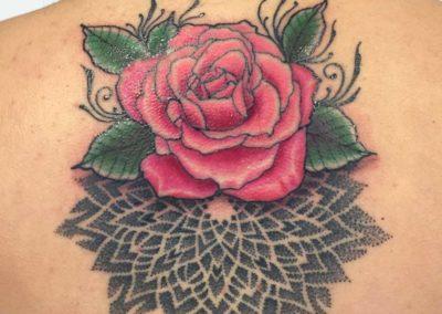 Andrez, tattoo, back, rose