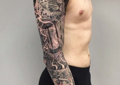 Andrez, tattoo, sleeve, leopard
