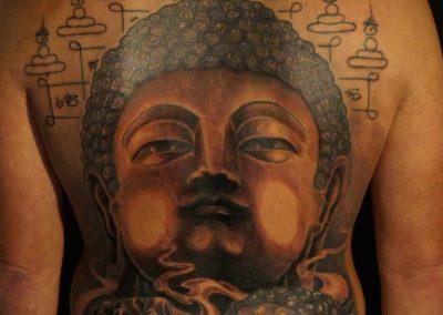 Den O'Mahony, tattoo, back, Budha