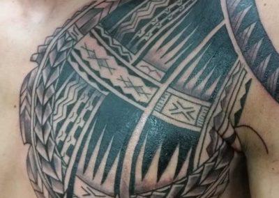Den O'Mahony, tattoo, chest