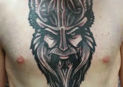 Den O'Mahony, tattoo, chest, Viking