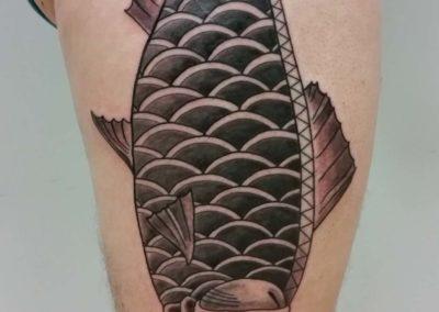 Den O'Mahony, tattoo, leg, fish