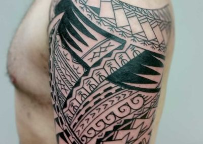 Den O'Mahony, tattoo, shoulder&arm